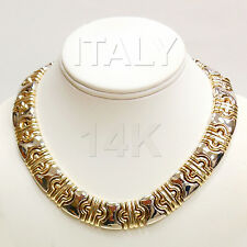 """Rare 14k Two Tone  Gold Italy 16"""" Fancy Link  Necklace, 105 Grams"""
