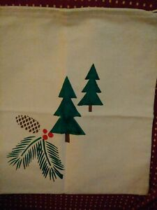 """Pillow Cover Canvas 18"""" Sq Zippered Stenciled Pine Bough/Cone/Tree"""