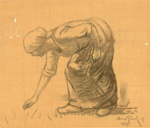 Anne Pinel - Signed 1903 Charcoal Drawing, Study of a Figure