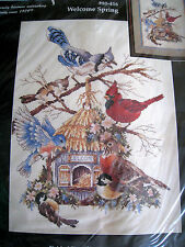 Janlynn Counted Cross Stitch Picture Craft KIT,WELCOME SPRING,Birds,House,80-416