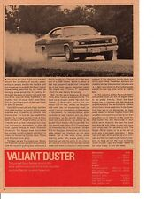 1970 PLYMOUTH VALIANT DUSTER ~ ORIGINAL NEW CAR INTRO ARTICLE / AD