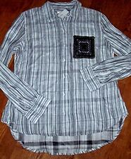 NWT Westbound Black/White Stripes DOUBLE-FACED Blouse Top Shirt M CROCHET POCKET