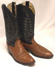 BEN MILLER Mens Size 6.5-7 EE Brown Bullhide Black Leather Western Cowboy Boots
