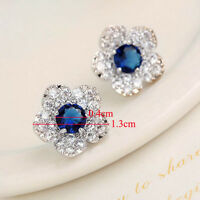 1 Pair Women Fashion New Blue Flower Crystal Ear Studs Earrings Jewelry Fancy
