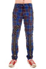 Tiger of London Blue Tartan Punk Rock Bondage Zip Pants Trousers