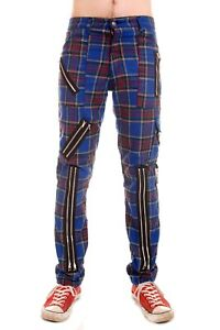 Tiger of London Blue Tartan Punk Rock Bondage Zip Pants Trousers