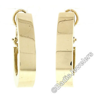 Simple 14k Yellow Gold Large 7.1mm Wide Flat Polished Cuff Omega Back Earrings