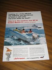 1965 Print Ad Johnson 90 HP Golden Meteor II Outboard Motor & Runabout Boat