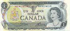BANK OF CANADA 1 DOLLAR 1973 AMF9116119 RADAR NOTE - UNC