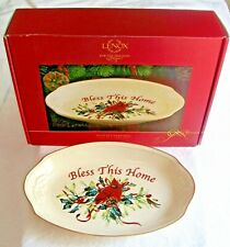 New Lenox Winter Greetings~Bless This Home Tray W/ Red Cardinal~Bird~Christmas~