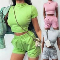 UK Womens 2Pcs Co-ord Set Crop Top Shorts Summer Beach Holiday Party Mini Romper