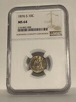 1876-S Liberty Seated dime, NGC MS64, beautifully toned original