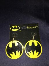 Vtg Dc Comic 1964 Rosecraft Black Yellow Bat Symbol Batman Metal Earrings