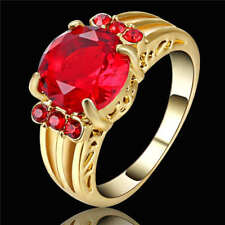 Vintage Big Oval Red Stone Ruby Engagement Ring Yellow Rhodium Plated Size 7