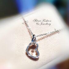 18K White Gold GF Simulated Diamond Shiny Eternal Double Linked Heart Necklace