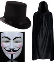 """Fancy Dress Accessory Anonymous V For Vendetta Mask 48/"""" Black Cape Hat Adult"""