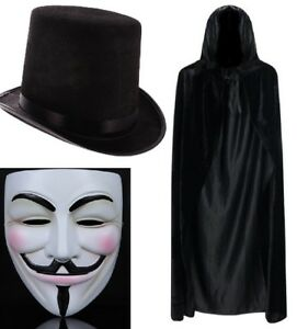 Anonymous Mask, Cape & Top Hat V For Vendetta Guy Fawkes Adult Halloween Scary