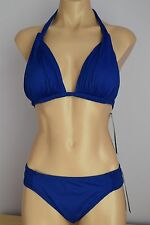 NWT La Blanca Swimsuit Bikini Top Blue Halter Sz 10 BLB