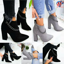 Womens Chunky Block High Heel Winter Ladies Zipper Pointed Toe Ankle Boots Shoes