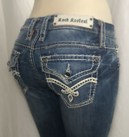 Rock Revival Jill Bootcut Jeans Thick Stitch Stretchy Women's Size 28x34 Tall