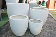 Outdoor Garden Patio Planter Pot Modstone Egg Lightweight Montague Round White
