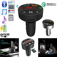 Fast Bluetooth Car Wireless FM Transmitter Dual USB Charger Audio Play