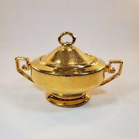 Vintage P T Bavaria Tirschenreuth Gold Embossed Sugar Bowl with Lid