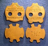 Quartet of odd-shaped tokens - Bennett Ford, Salt Lake City, Utah etc...........