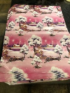 Vintage Old Retro Piece Unused Christmas Wrapping Paper PINK and BAMBI!!!