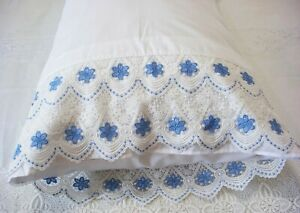 New White Embroidered Lace Pillowcases (2) Pillowsham Cotton Sateen Standard S1#
