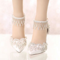 Women's Wedding Lace High Heels Peep Toe Stiletto Ankle Strap Party Bride Shoes