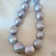 AA+ 12-13mm Silver Round Baroque Cultured Freshwater Pearls Loose Beads 15'