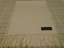 2 PLY 100% Cashmere Solid Off White Scarf Unisex WARM Scotland Wool Loop Thick