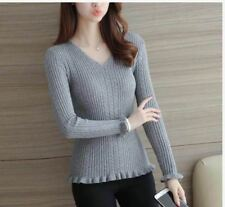 KNITTED VNECK TOP (TG) - GRAY