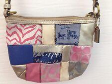 COACH SIGNATURE PATCHWORK BAG Small Purse Patchwork Multicolor Gold PINK BLUE