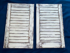 Farmhouse Shutter Painted Canvas Art Rustic Whitewashed Window Faux 18�x11� Set
