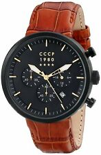 CCCP Men's Kashalot Dress CP-7007-07 44mm Black Dial Leather Watch