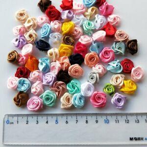 100/200Pcs Small Satin Flower Ribbon Mini Rose Appliques 12mm Sewing Craft DIY