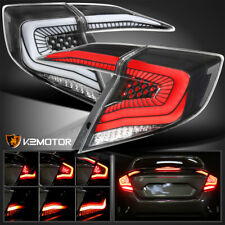 For 2016-2020 Honda Civic Sedan Black LED Tail Lights w/ Sequential Signal Lamps