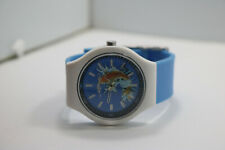 Mens Ed Hardy Plastic Case Koi Dial Blue Band Watch New Battery