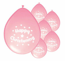 30 x CHRISTENING GIRL PINK BALLOONS PARTY DECORATIONS (PA)