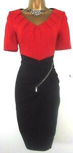 💝STUNNING KAREN MILLEN BLACK ORANGE FITTED EVENING PARTY OFFICE FORMAL DRESS 12