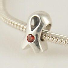 Cinta roja cáncer Genuino 925 plata pulsera con dijes Europea Bead Fits