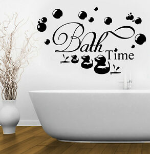 BATHROOM Sticker Decal Bath Time Ducks Soak Relax Quote Wall Art Removable DIY