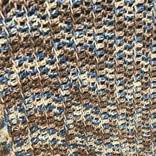 "Handmade Blue Brown Tan Taupe Crochet Knit Afghan Throw Lap Blanket 62"" X 32"""