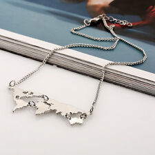 Trendy Women Silver/Gold/Black Earth Map Pendant Statement Necklace Jewelry Chic