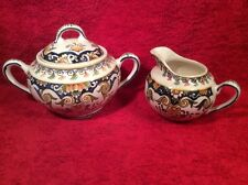 Antique Rouen Decor French Faience Sugar and Creamer, ff415 ANTIQUE GIFT !!