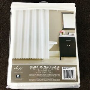 "Lamont Home Majestic Matelasse White Shower Curtain 54 x 78"" NEW Scallop Cotton"