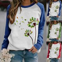 Women Long Sleeve Dandelion Print T-shirt Ladies Casual Loose Tops Shirt Blouse