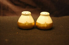 Small White and Gold Salt and Pepper Shakers